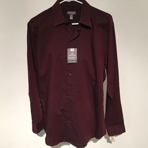 Van Heusen Men's Dress Shirt Burgundy Sz 15-15 1/2
